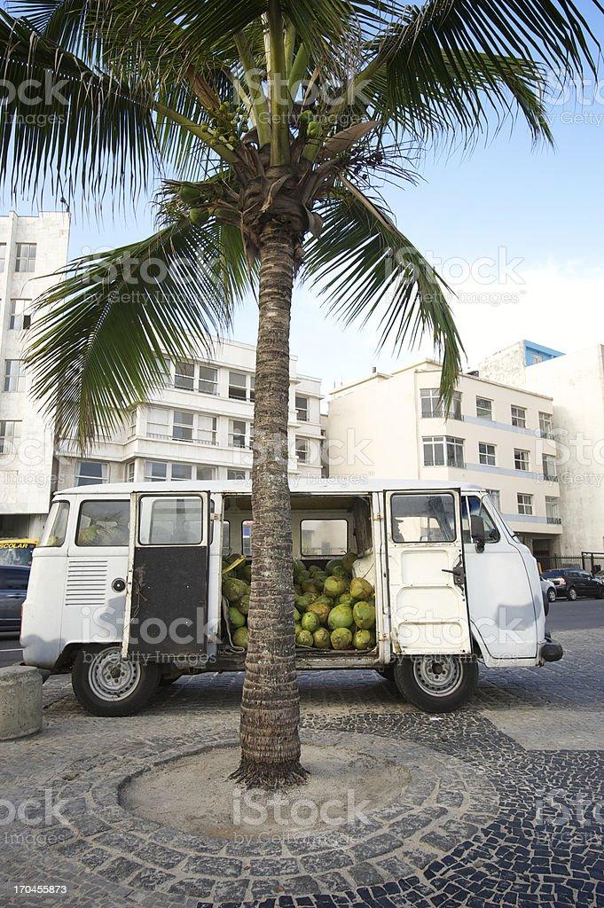 Coconuts Van Parks Next to Palm Tree Rio de Janeiro stock photo