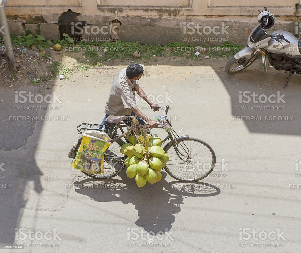 Coconut-water vendor in Bangalore royalty-free stock photo