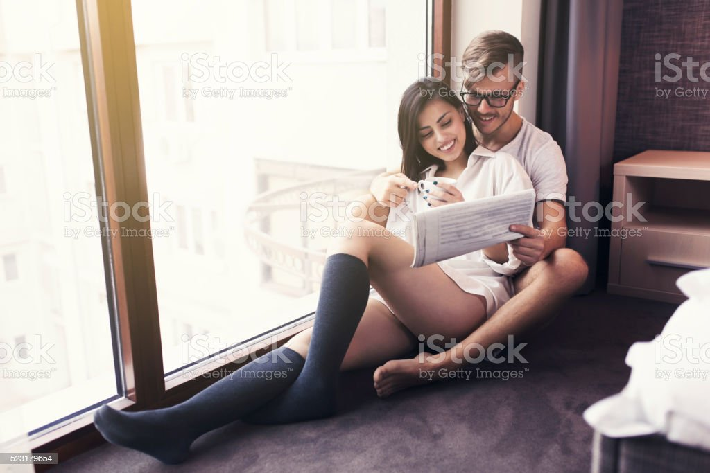Cocooning, Relaxing, Enjoying Together stock photo