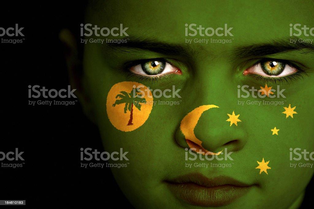 Cocos (Keeling) Islands flag boy stock photo
