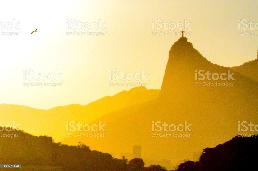 CoCovado mountain silhouettes, Rio de janeiro, Brazil stock photo