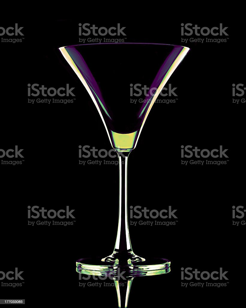 Coctail glass in neon colors stock photo
