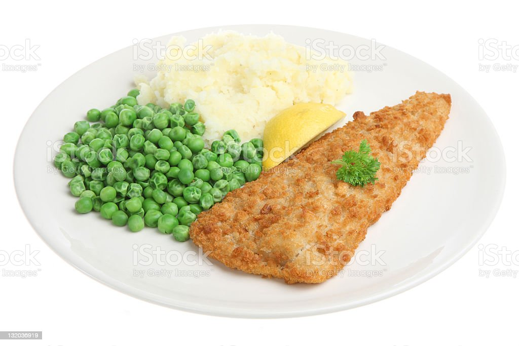 Cod Fillet with Mash & Peas royalty-free stock photo