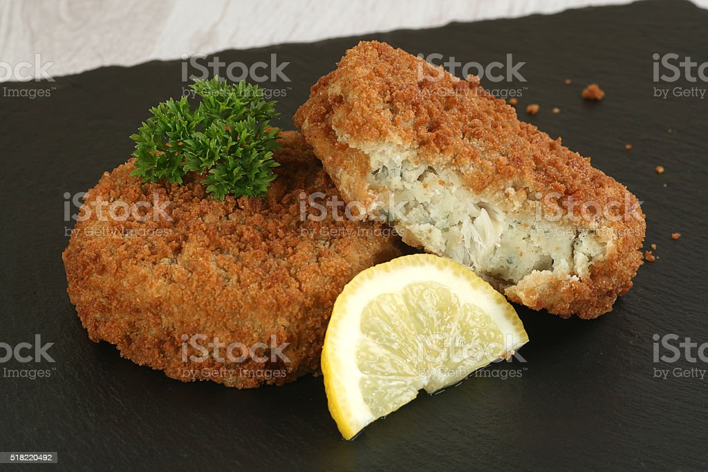 cod fish cakes stock photo
