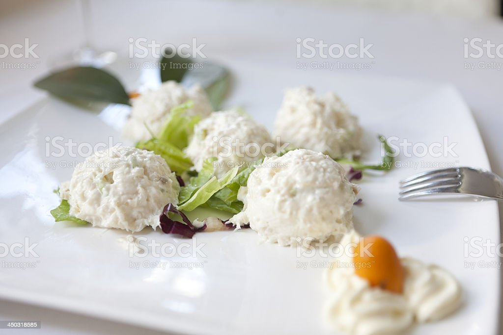 cod fish cream stock photo
