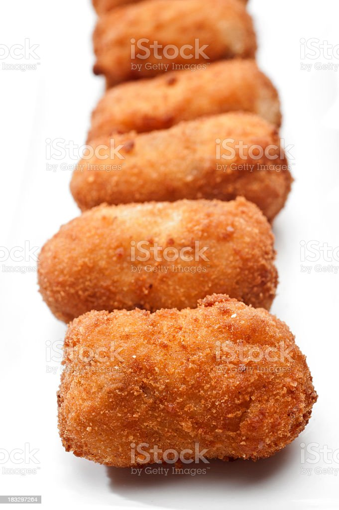 Cod Fish Croquettes on white background royalty-free stock photo