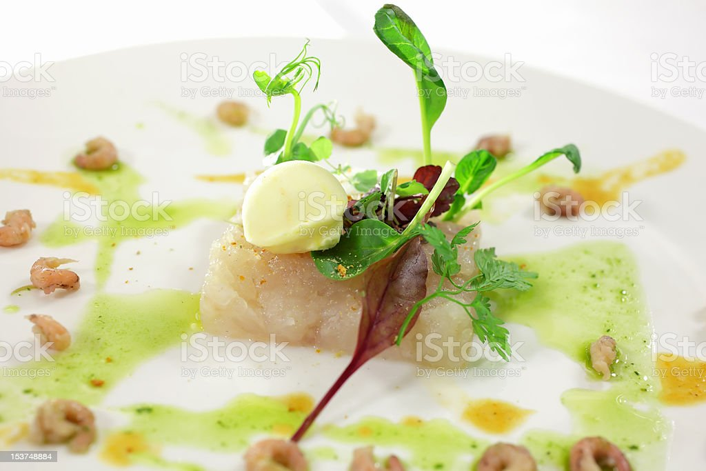 Cod fish with shrimps stock photo