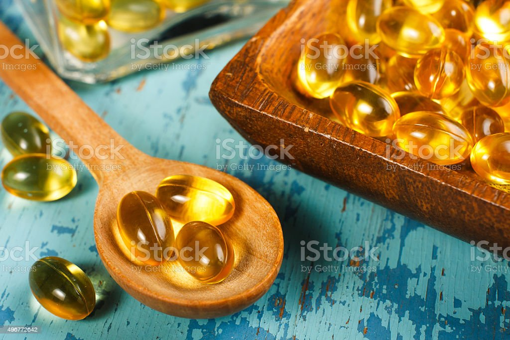 Cod Liver Oil Capsules stock photo