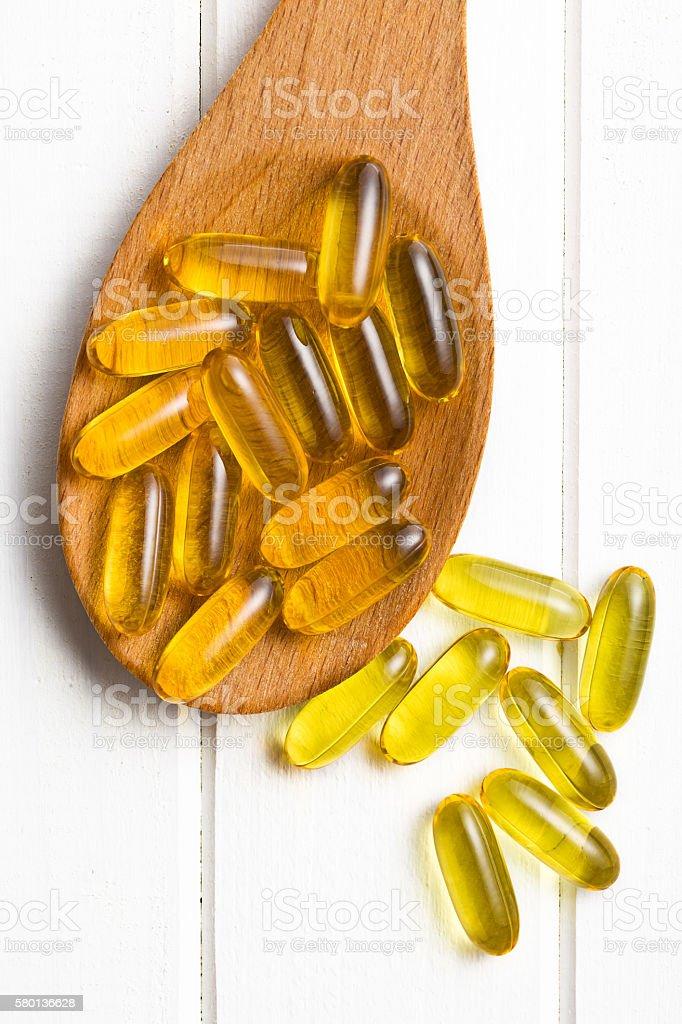 Cod liver oil. Gel capsules stock photo