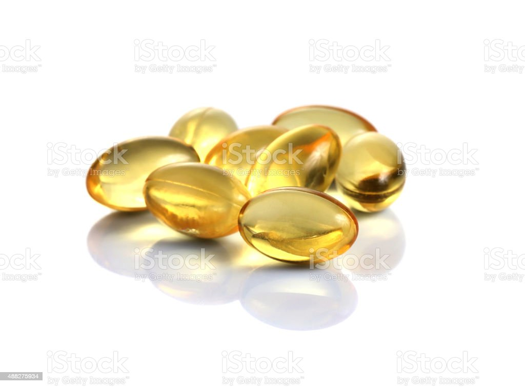 Cod liver oil omega 3 gel capsules stock photo