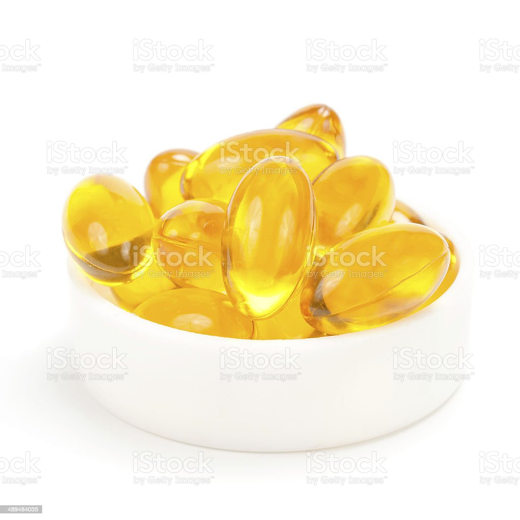 Cod liver oil omega 3 gel capsules royalty-free stock photo