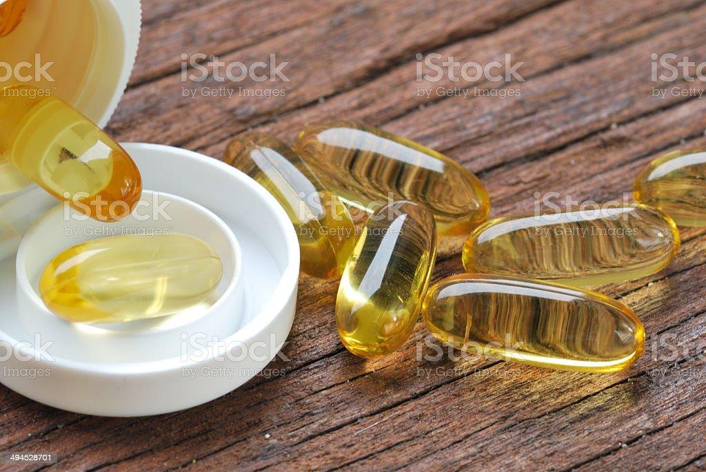 Cod liver oil omega 3 gel capsules stock photo