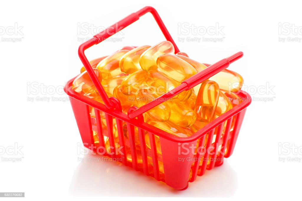 Cod liver oil Omega 3 in the shopping basket stock photo