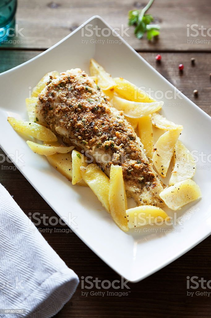 cod with potatoes stock photo