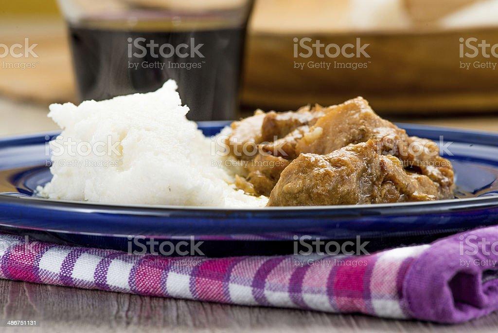 Cod with white polenta stock photo