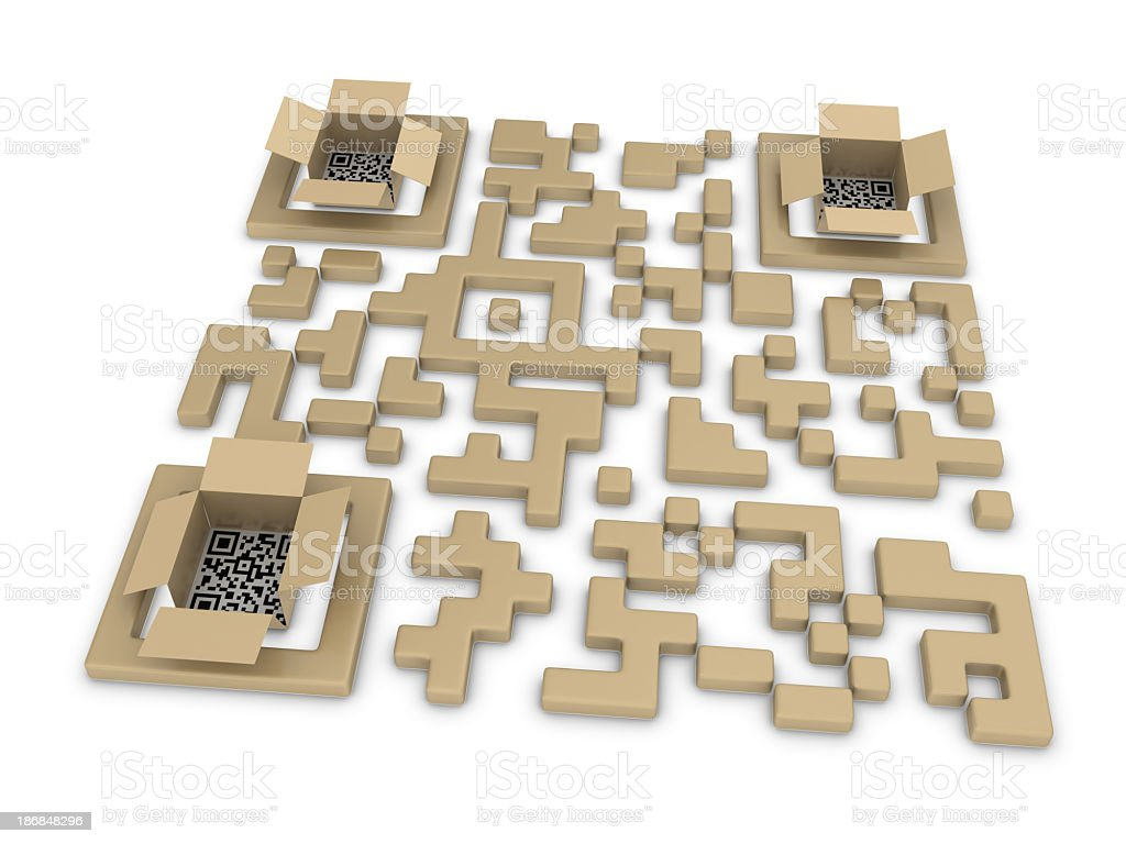 QR Code and Cardboard Box stock photo