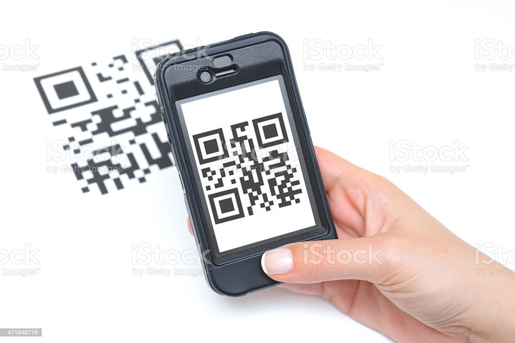 QR Code and Smart Phone stock photo