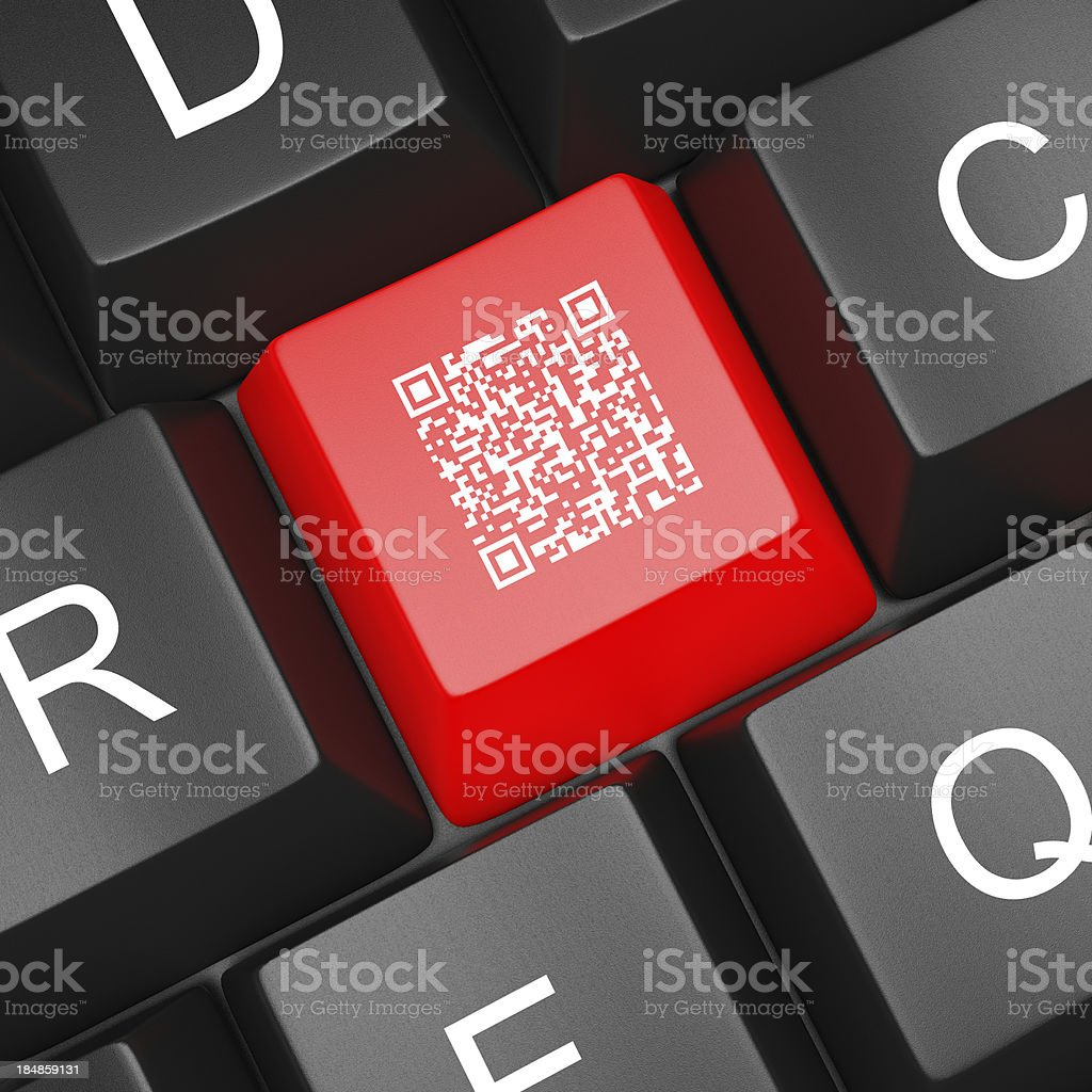 QR Code Computer  Keyboard stock photo