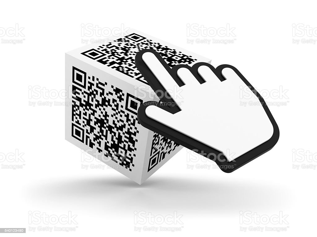 QR Code Cube with Hand Cursor on White Background stock photo