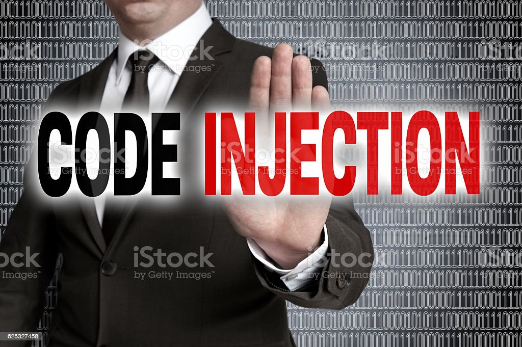 Code injection with matrix is shown by businessman stock photo