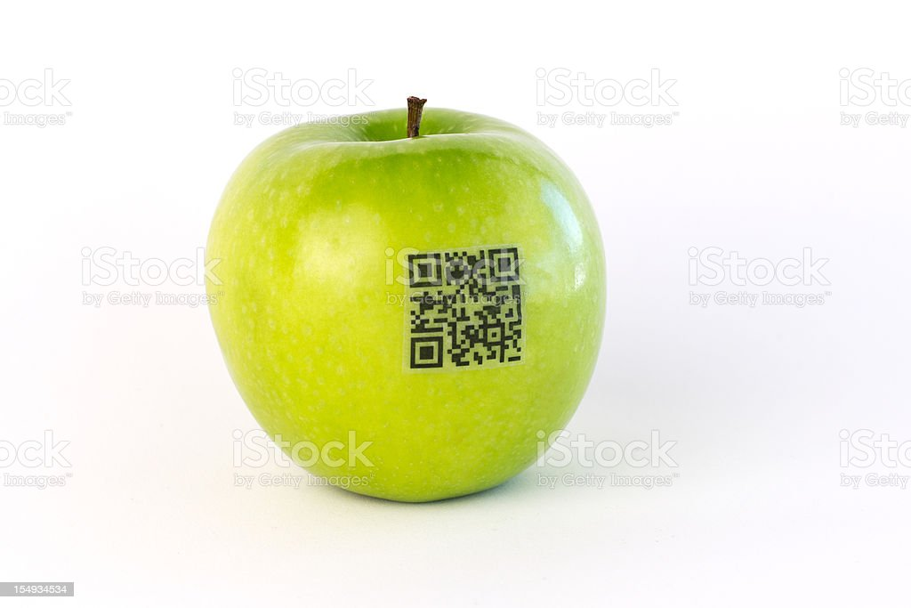 QR Code Label on Green Apple stock photo