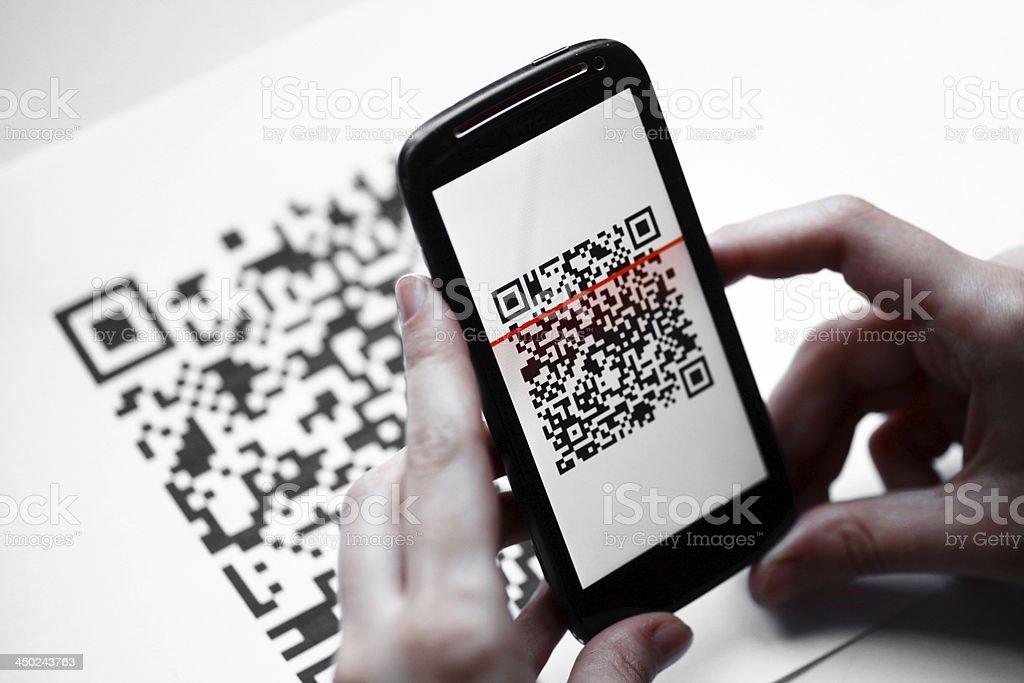 QR code mobile scanner stock photo