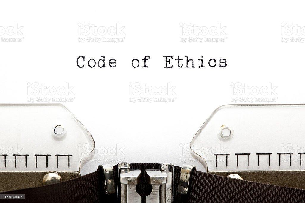 Code of Ethics Typewriter stock photo