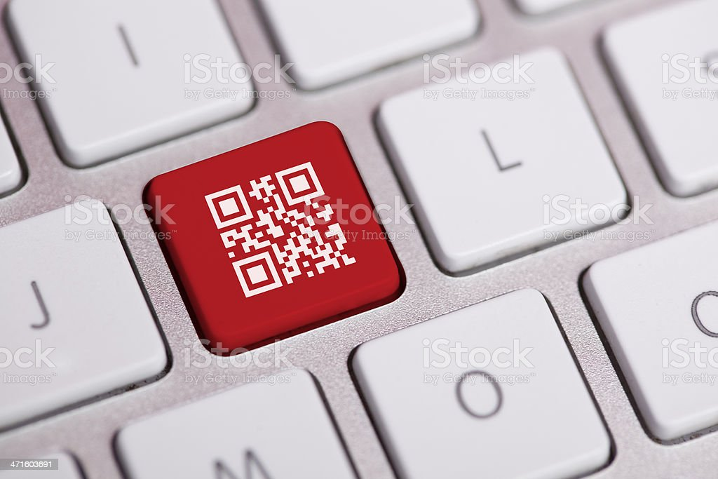 QR Code on Keyboard stock photo