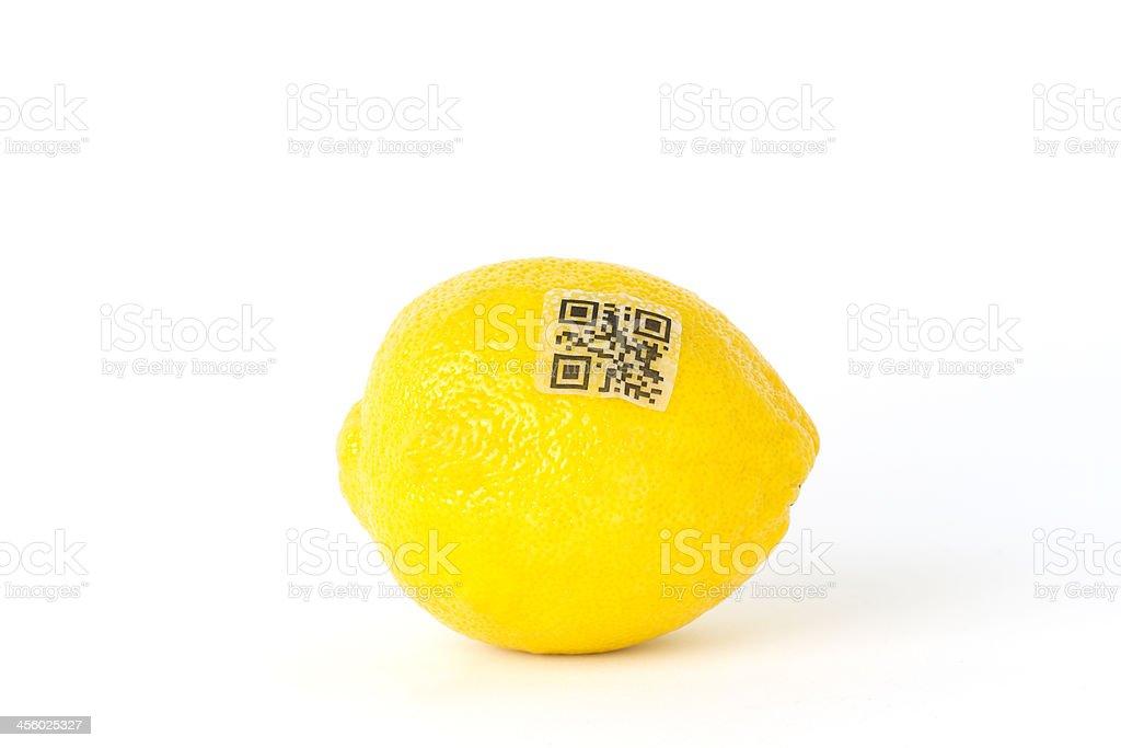 QR Code on Lemon royalty-free stock photo