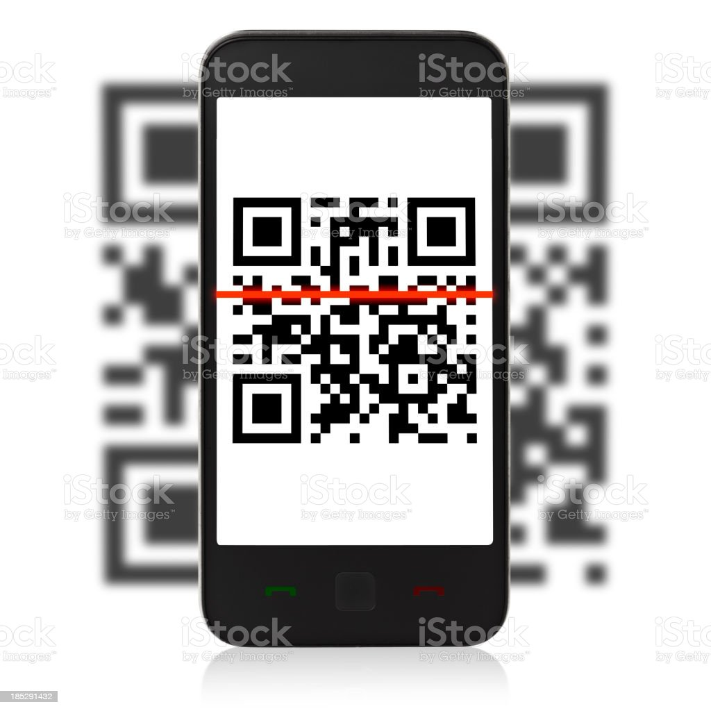 QR Code on mobil phone stock photo