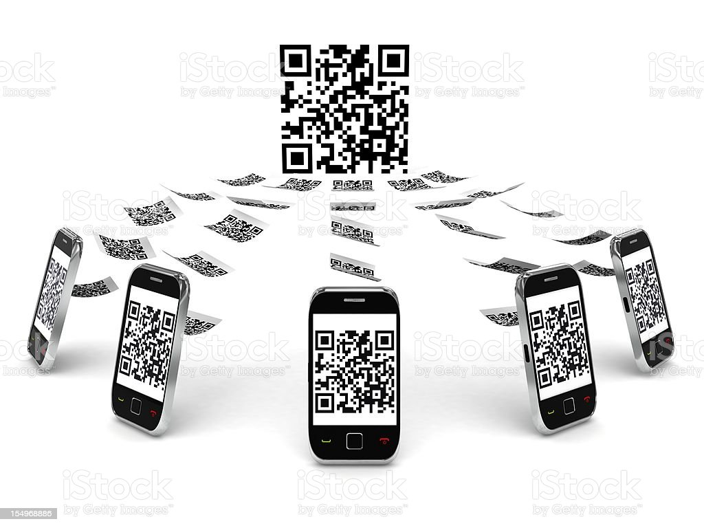 QR Code on Mobile Phone royalty-free stock photo