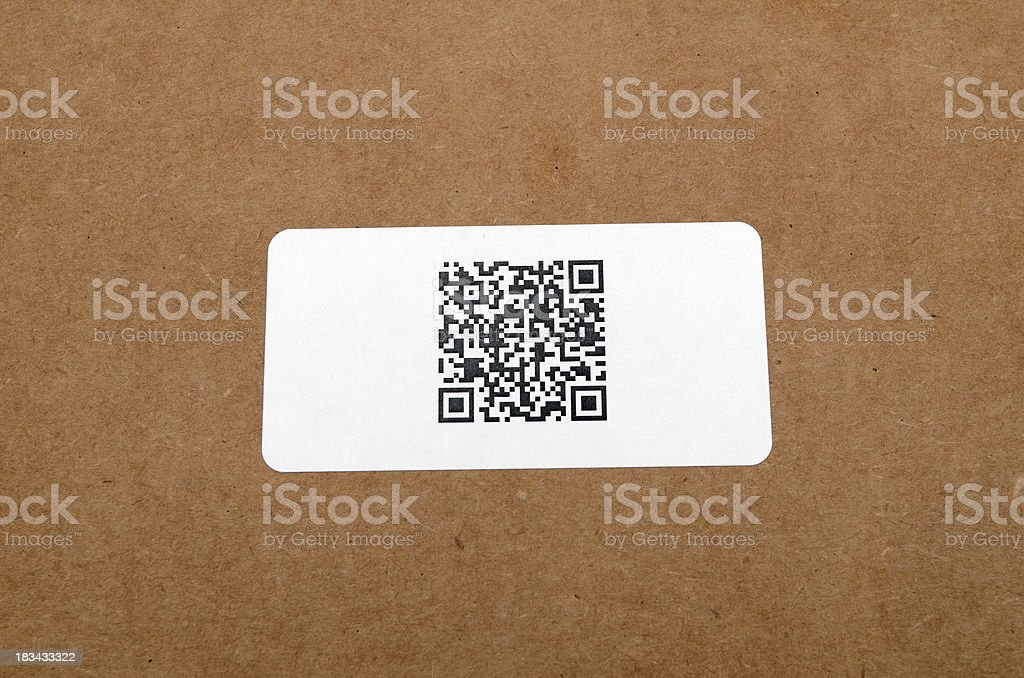 QR Code on Shipping Label stock photo