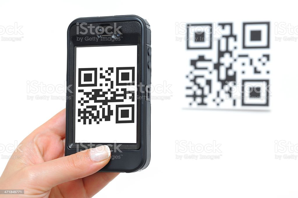 QR Code on Smart Phone stock photo