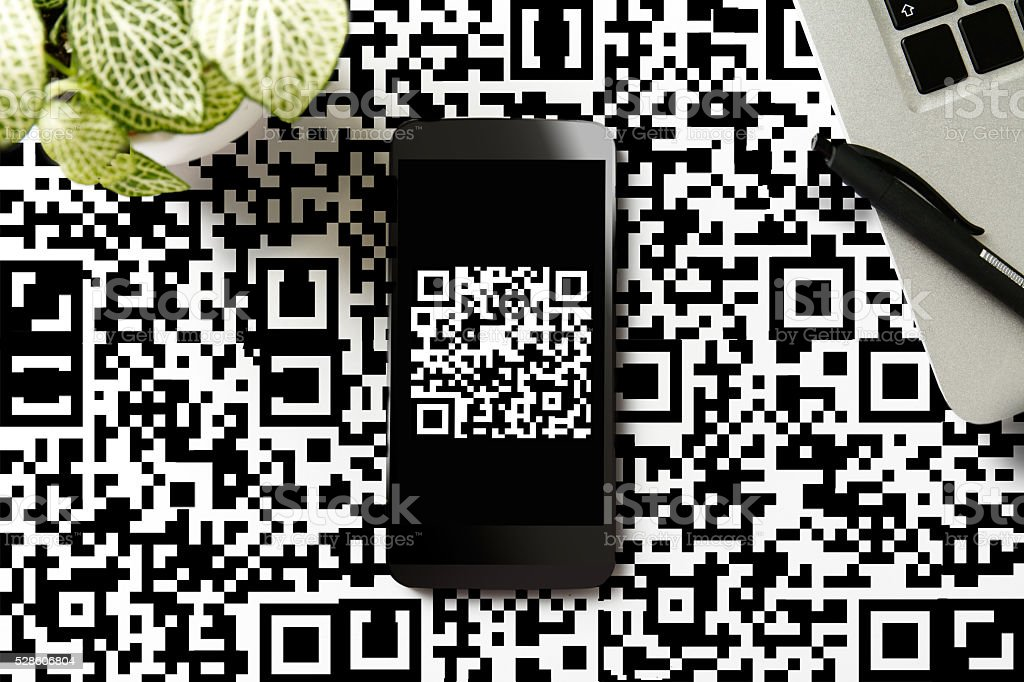 QR code on smartphone stock photo