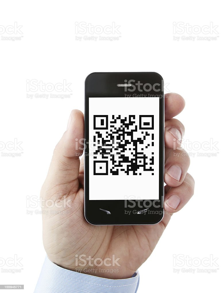 QR code on the phone stock photo