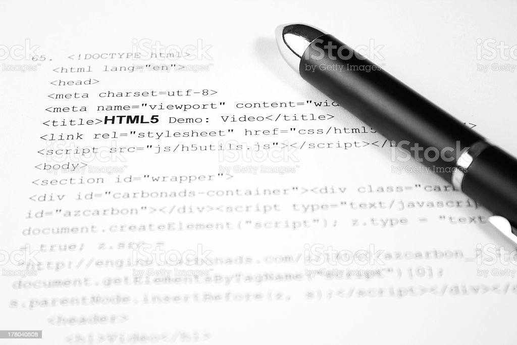 HTML5 code royalty-free stock photo
