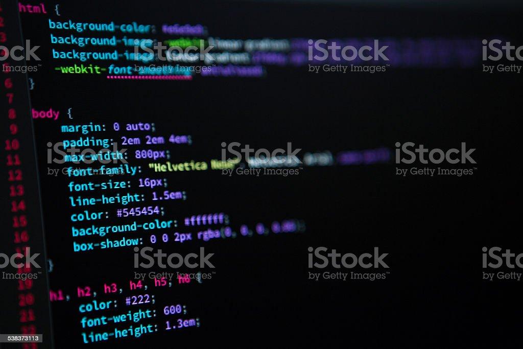 CSS code stock photo