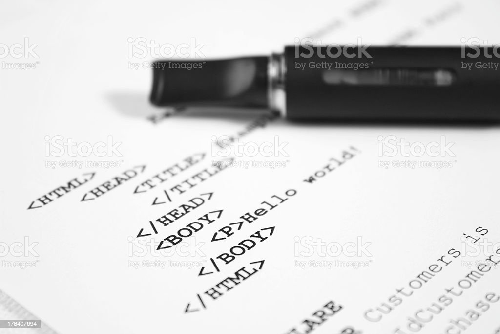 HTML code with electronic cigarette royalty-free stock photo
