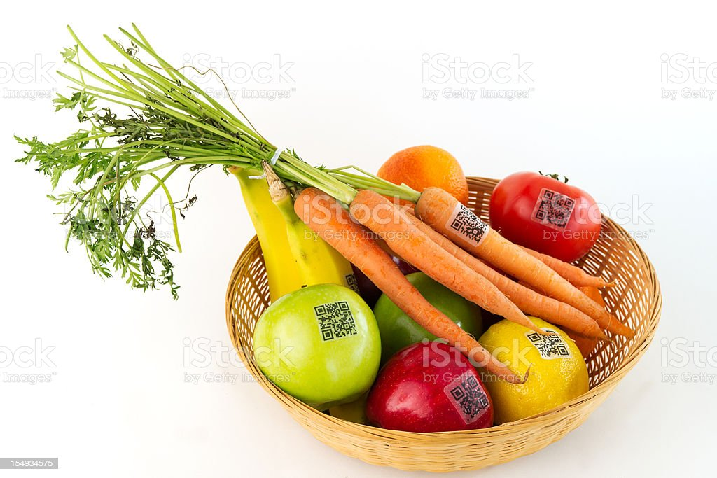 QR Codes on Basket of Fruit and Vegetables stock photo