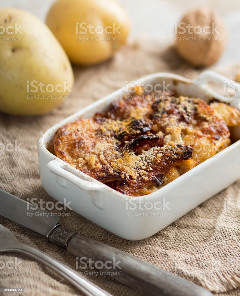 Codfish with potatoes stock photo