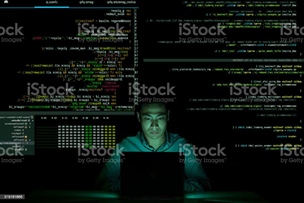 Coding in the dark stock photo