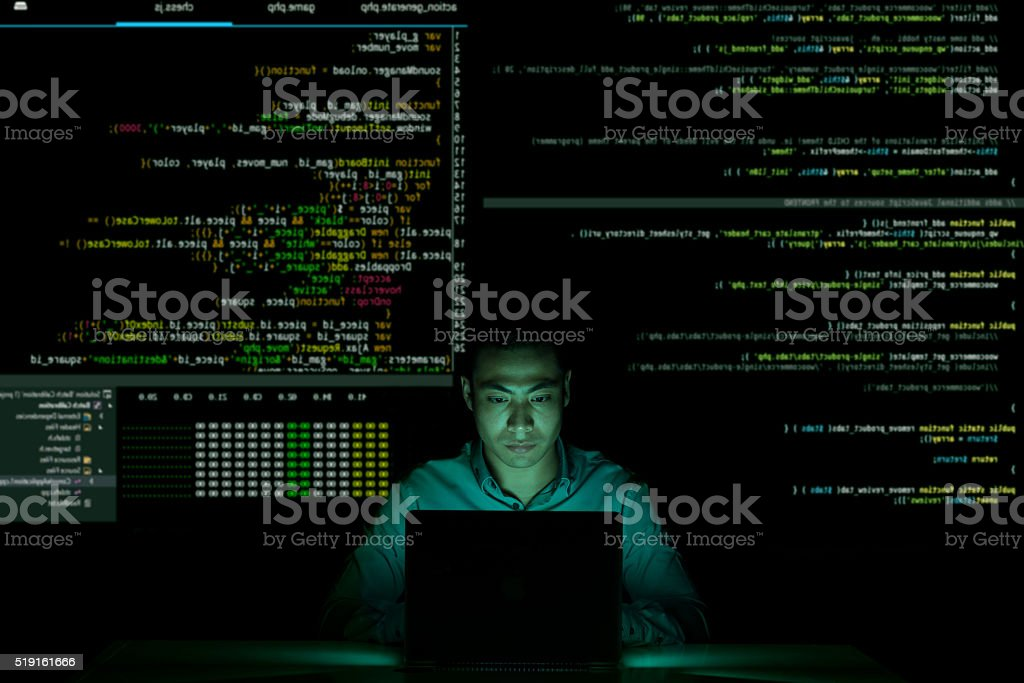 Coding in the dark stock photo
