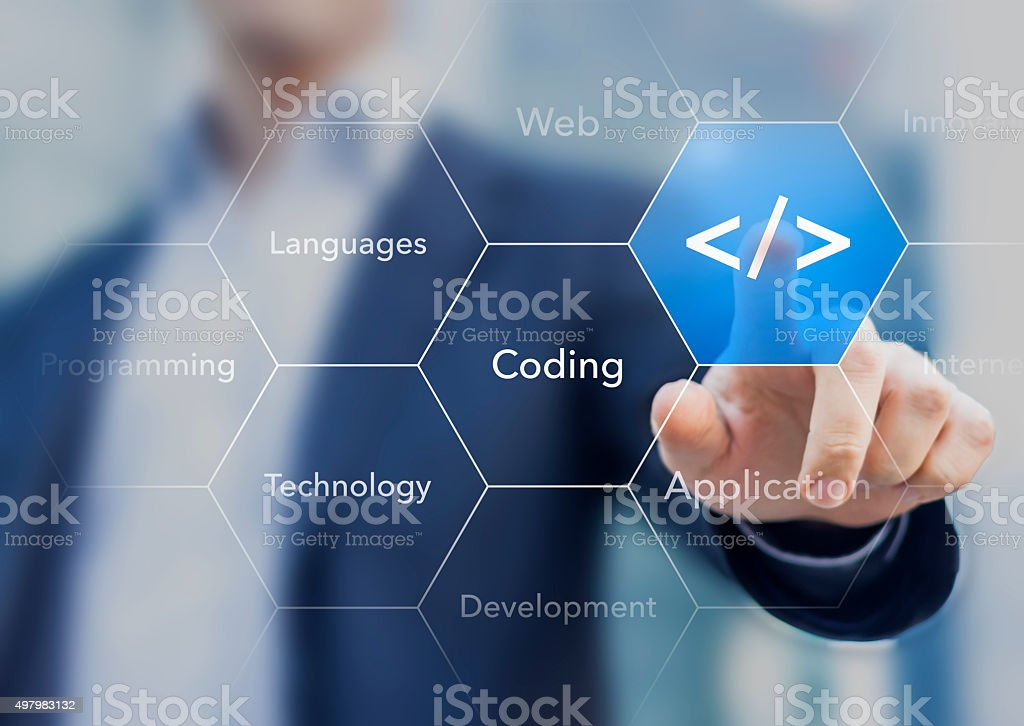 Coding symbol on virtual screen about developing apps or websites stock photo
