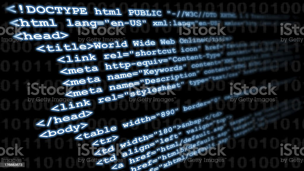 HTML coding tags stock photo