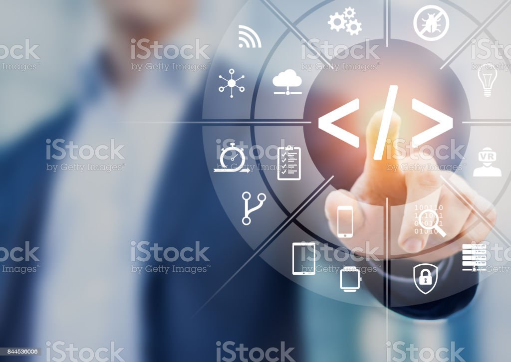 Coding with software developer touching AR screen icons, agile, debug stock photo