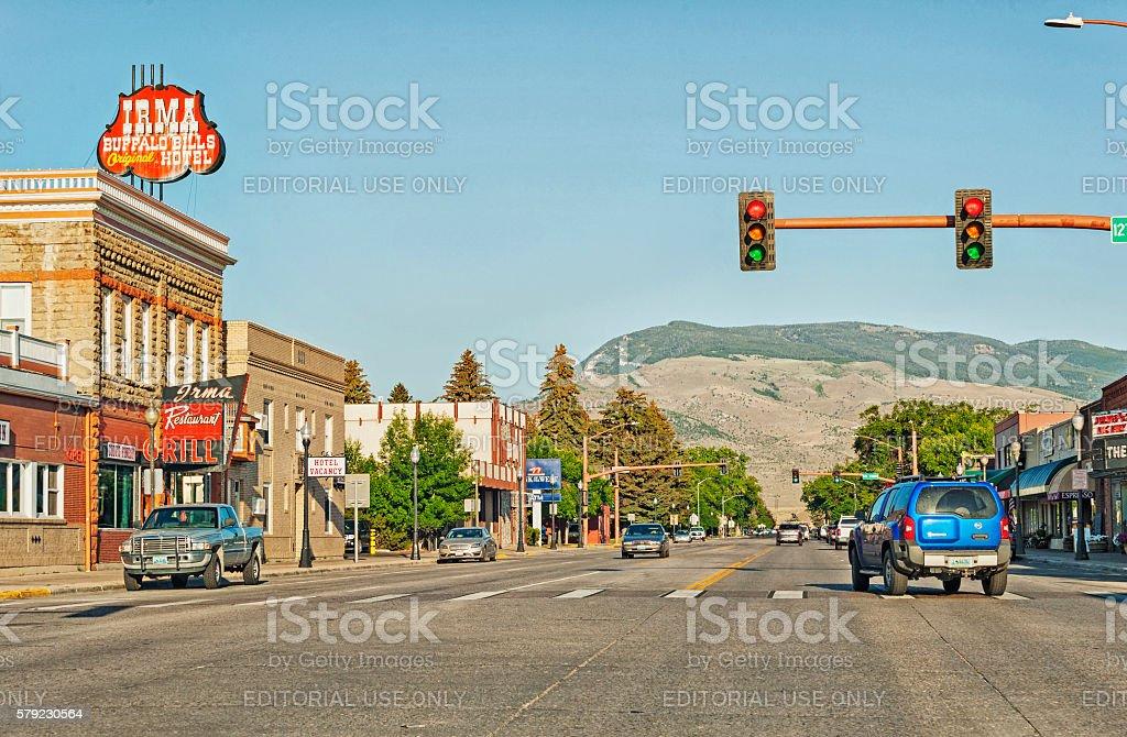 Cody Wyoming City street View stock photo