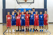 Co-ed high school basketball team lined up on the court