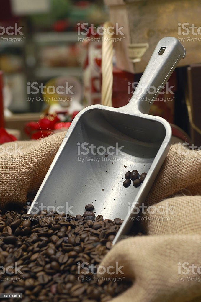 cofee bag and scoop royalty-free stock photo