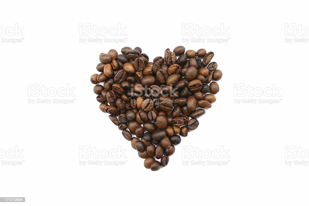 cofee beans heart royalty-free stock photo