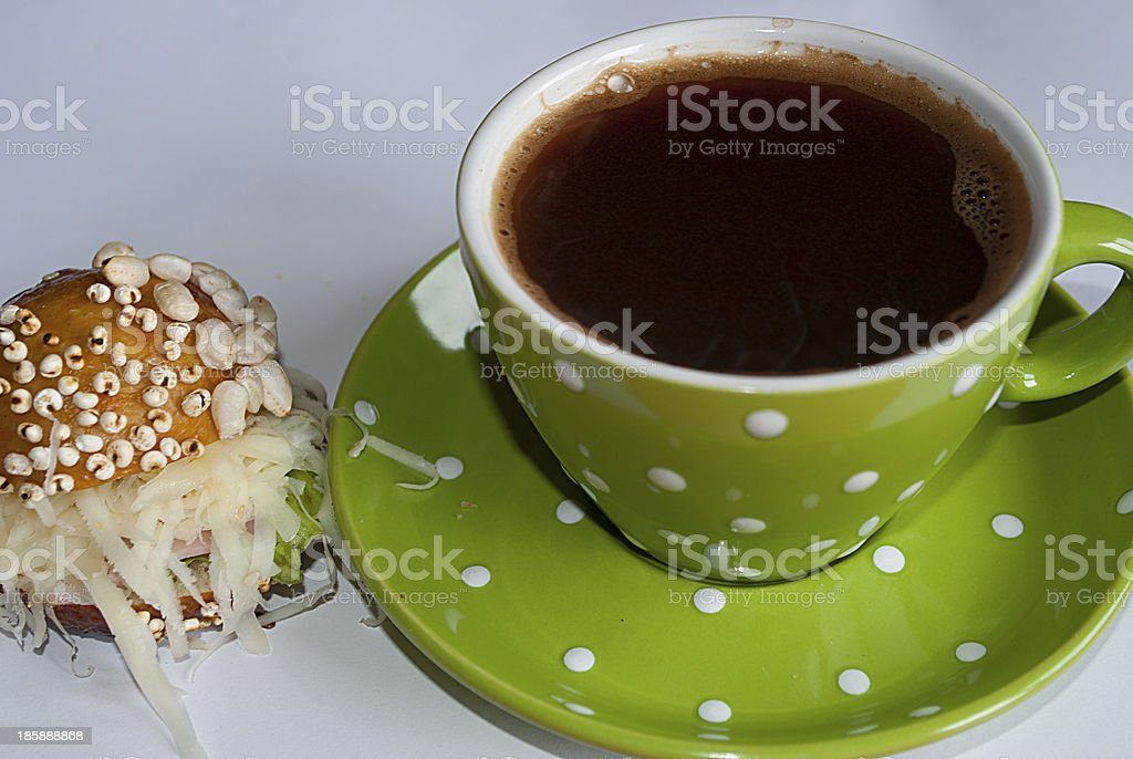Coffe and croissant stock photo